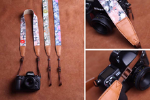 Tailor Handmade Real folk custom Cow Leather Flower Cotton pattern Camera strap slr dslr buckles Leica Nikon Sony Olympus Canon fujifilm Bag