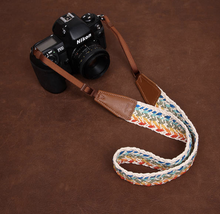 Tailor Handmade Real folk custom Cow Leather Woven Cotton pattern Camera strap slr dslr buckles Leica Nikon Sony Olympus Canon fujifilm Bag