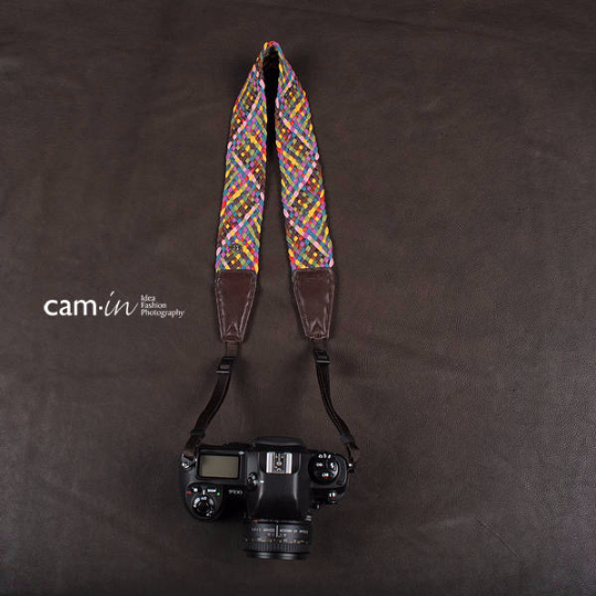 Tailor Handmade Real paul smith Cow Leather Woven Cotton pattern Camera strap slr dslr buckles Leica Nikon Sony Olympus Canon fujifilm Bag