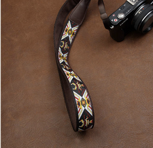 Tailor Handmade embroidery flower Cow folk custom Cotton pattern Camera strap slr dslr buckles Leica Nikon Sony Olympus Canon fujifilm Bag Gold White