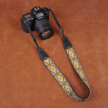 Tailor Handmade embroidery flower Cow folk custom Cotton pattern Camera strap slr dslr buckles Leica Nikon Sony Olympus Canon fujifilm Bag White GOld