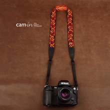 Tailor Handmade embroidery flower Real Cow Leather Cotton pattern Camera strap slr dslr buckles Leica Nikon Sony Olympus Canon fujifilm Bag Red Orange Flower