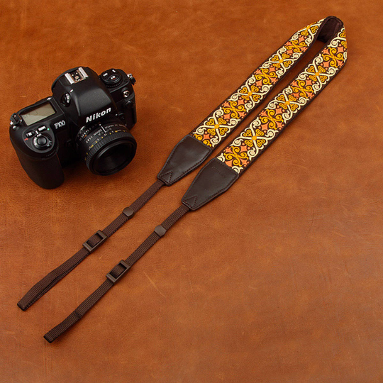 Tailor Handmade embroidery flower Real Cow Leather Cotton pattern Camera strap slr dslr buckles Leica Nikon Sony Olympus Canon fujifilm Bag Yellow Flower