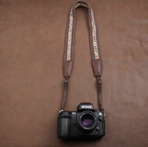 Tailor Handmade paul smith Real Cow Leather Woven Cotton pattern Camera strap slr dslr buckles Leica Nikon Sony Olympus Canon fujifilm Bag Brown