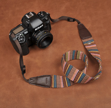 Tailor Handmade paul smith Real Cow Leather rainbow Cotton pattern Camera strap slr dslr buckles Leica Nikon Sony Olympus Canon fujifilm Bag Rainbow Color