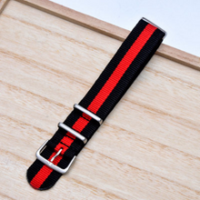 On Sale Handmade Stripe Nylon Strap Nato Red Black IWC Timex Rolex Hamilton Daniel Wellington Panerai DW strap watch band 16 18 20 22 mm custom made
