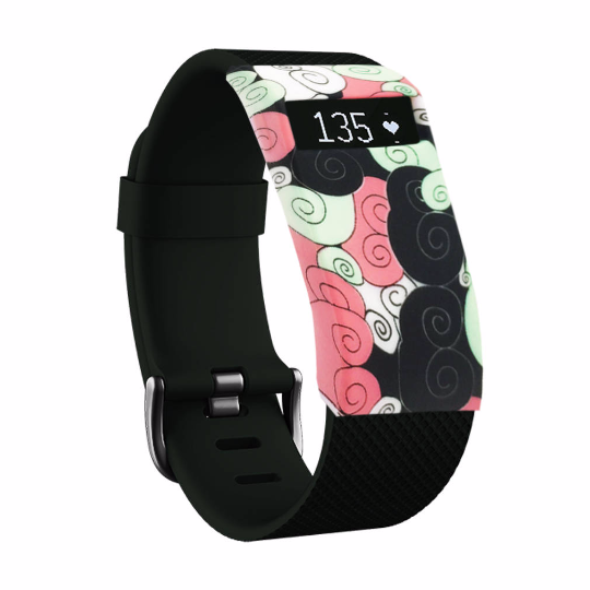 ilicone sports Handmade Smart Fitbit Charge Watch Strap pink black white Flower Color colorfu cover covers case SmartWatch custom Watchband