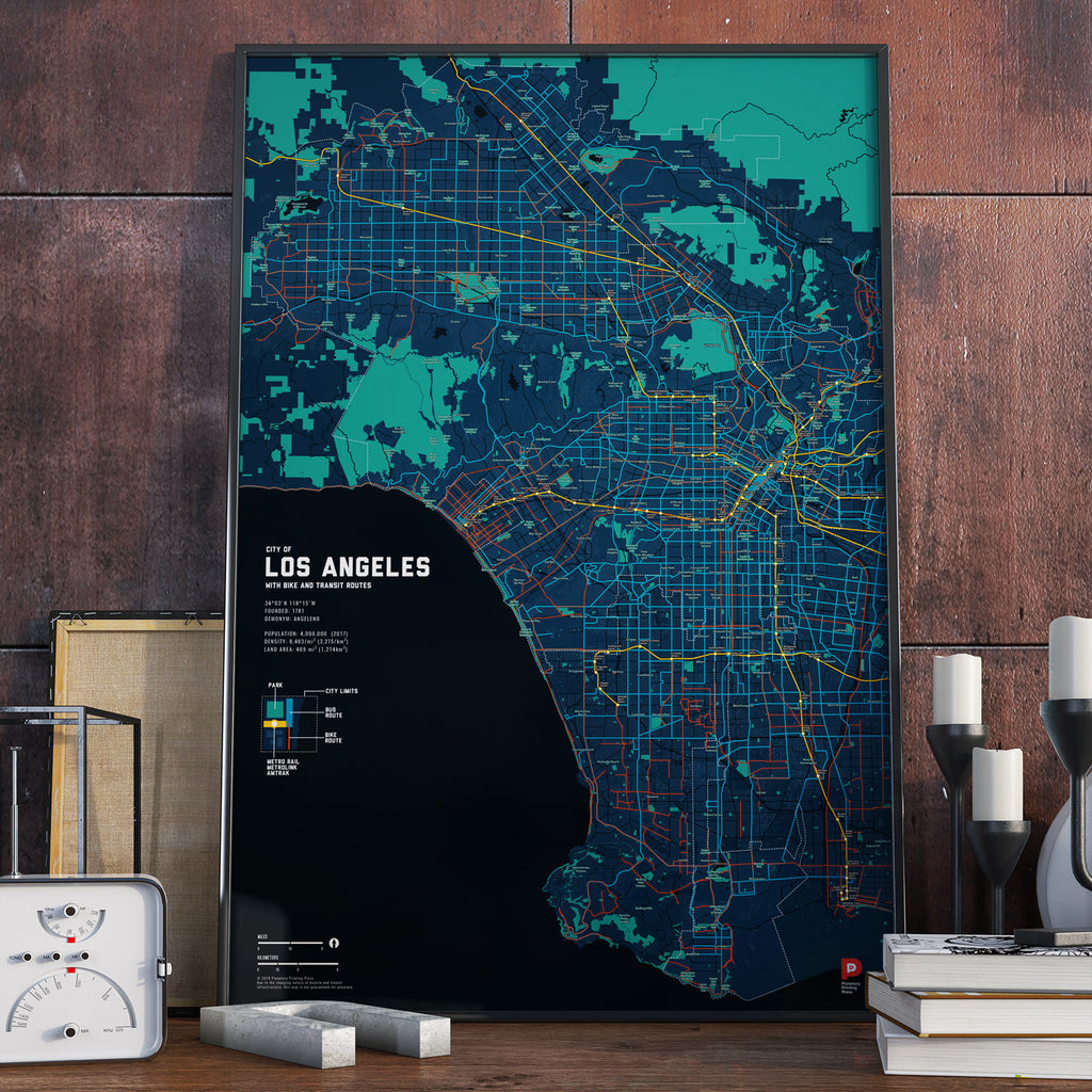 Los Angeles Bike & Transit Map (Midnight Blue)