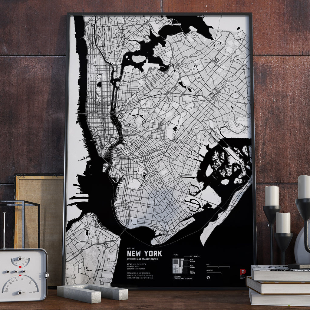 New York Bike & Transit Map (Black & White)