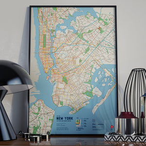 New York Bike & Transit Map (Pastel)
