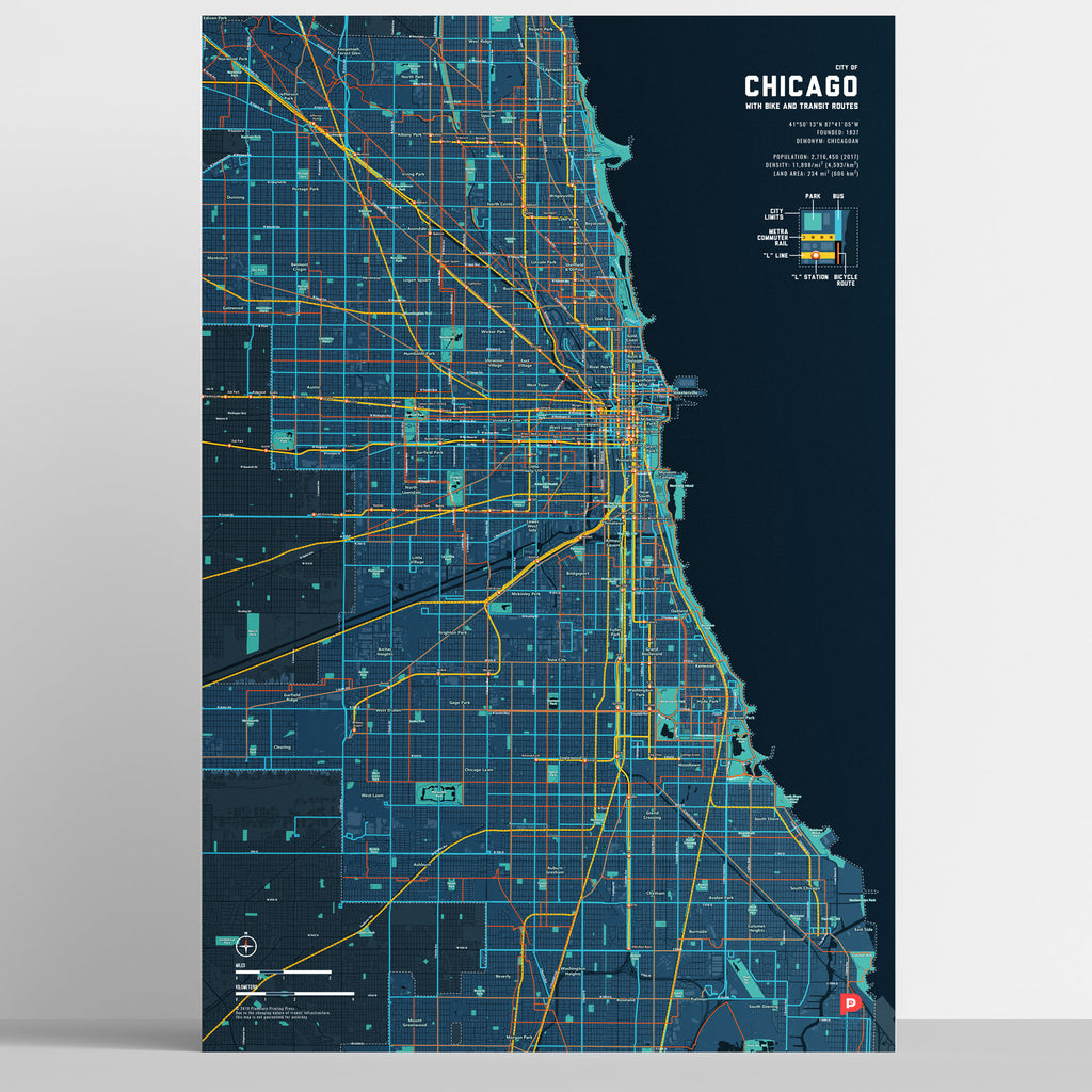 Chicago Bike & Transit Map (Midnight Blue)