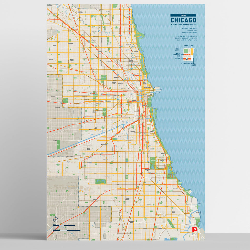 Chicago Bike & Transit Map (Pastel)