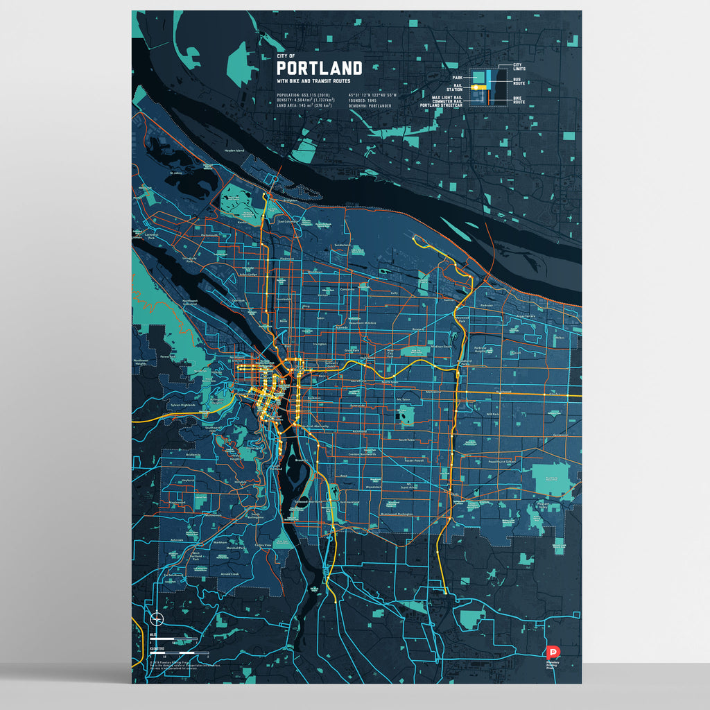 Portland Bike & Transit Map (Midnight Blue)