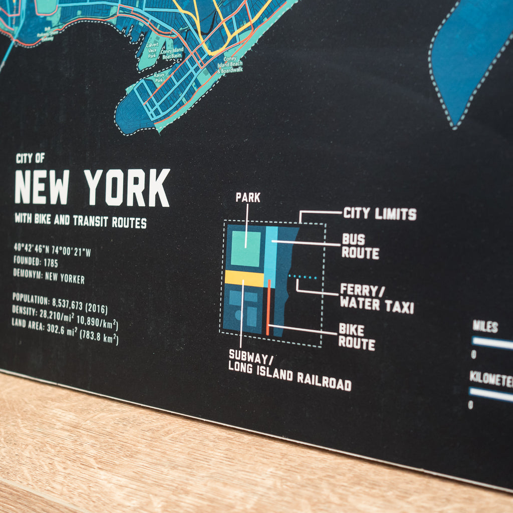 New York Bike & Transit Map (Midnight Blue)