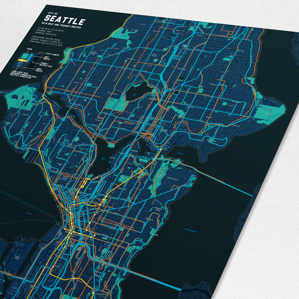 Seattle Bike & Transit Map (Midnight Blue)