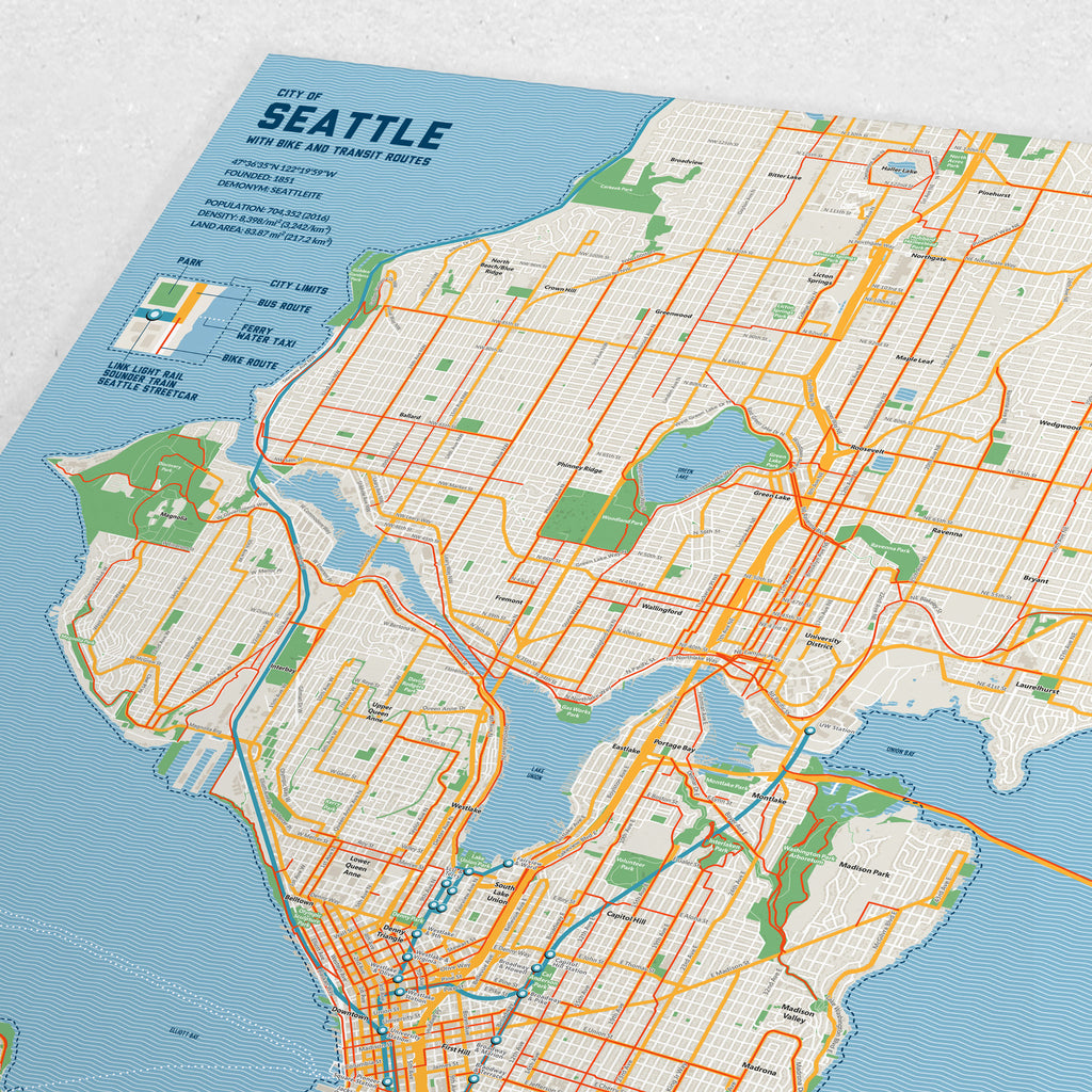 Seattle Bike & Transit Map (Pastel)
