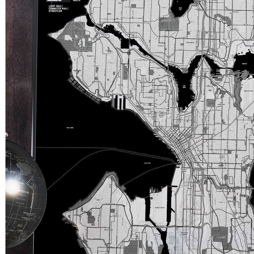 Seattle Bike & Transit Map (Black & White)