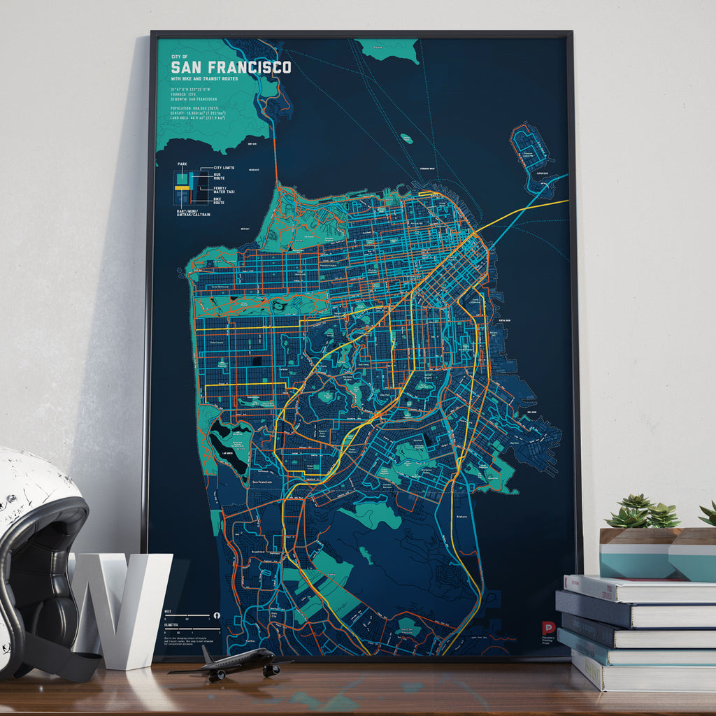 San Francisco Bike & Transit Map (Midnight Blue)