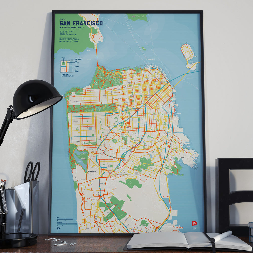 San Francisco Bike & Transit Map (Pastel)