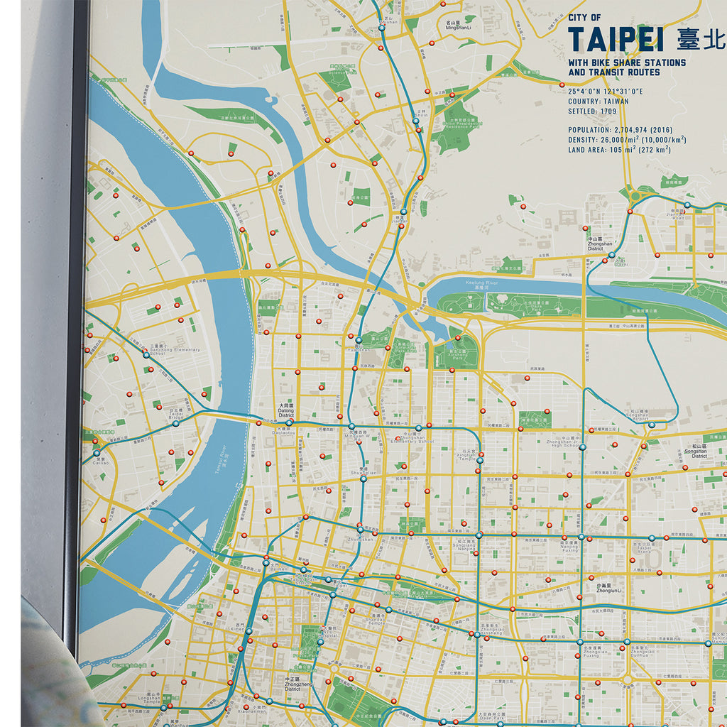 Taipei Bike & Transit Map (Pastel)