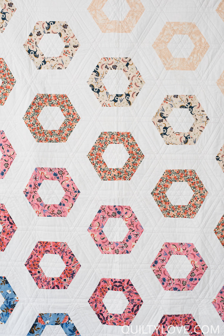 Hexie Rows Paper Quilt Pattern Quilty Love
