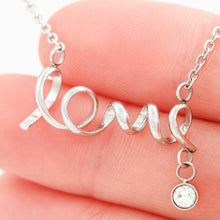 "Scripted ""Love"" Necklace, Cubic Zirconia Attachment, Polished Shine, ""love you to the moon and back"""