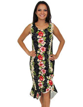 Black Hawaiian Dress Sleeveless Knee Length, Big Island, XS-Plus Size