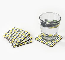Coaster Set of 4, Zesty, Yellow Lemons, Black & White Stripe, Lemon Coaster Set