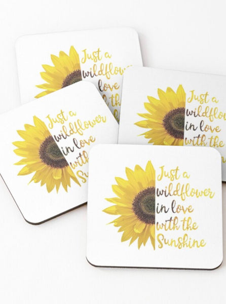 Coaster Set, Boho Style, Sunflower, Wildflower in Love with the Sunshine