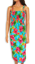 Hawaiian, Hibiscus Watercolor Smock Dress with Straps