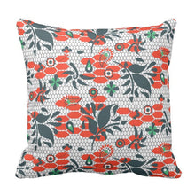 Indie Pattern Throw Pillow in Red and Navy