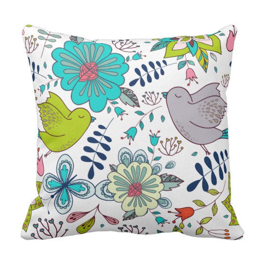 BOHO  Pattern Bird & Flowers Decorative Throw Pillow