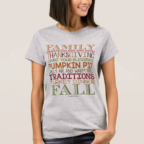 Women's Thanksgiving T-shirt, Fall T-shirt, Typography T-shirt, Family, Scarecrows, Hay Rides, Blessings,