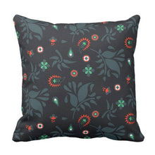 Mix and Match Indie Pattern Pillow in Navy and Red