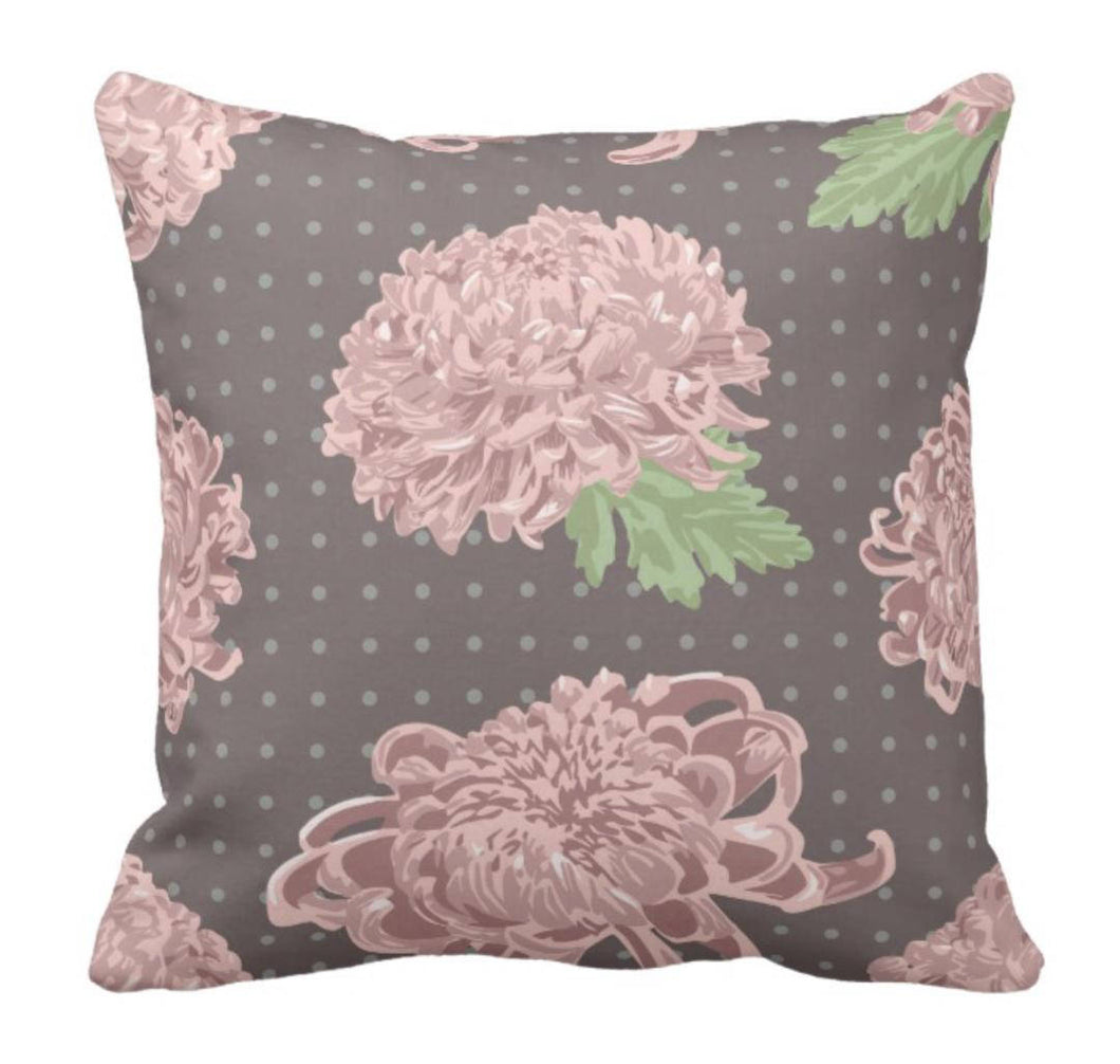 Prairie Style Aged Pink Chrysanthemum Decorative Throw Pillow