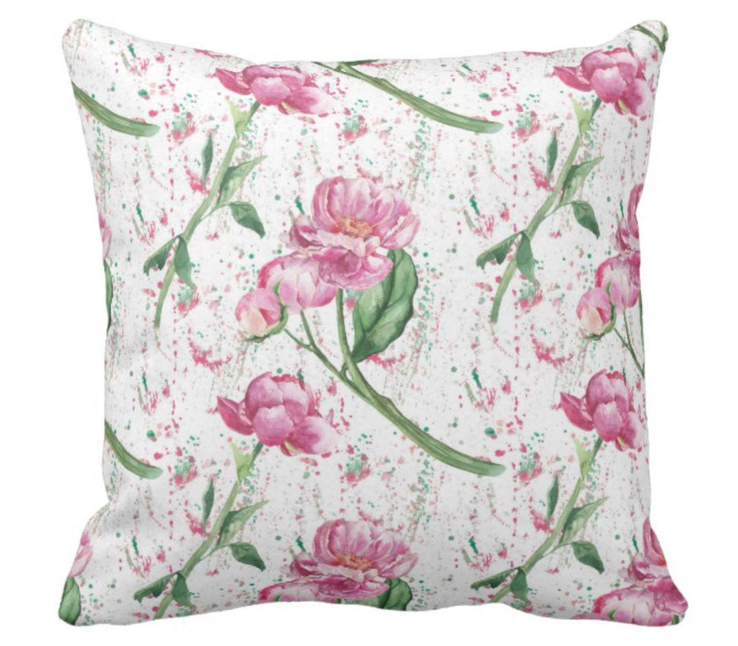 Cottage Garden Pink Peony Throw Pillow