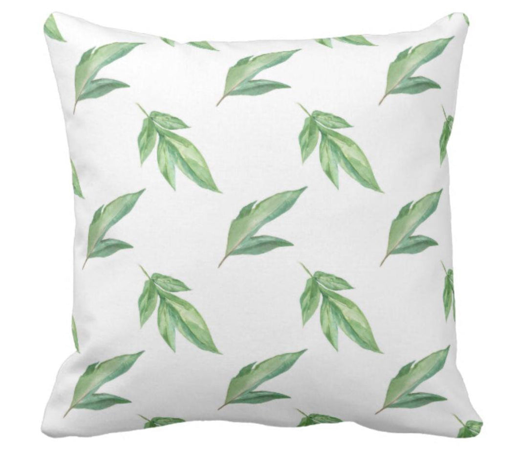 Peony Leaves Throw Pillow