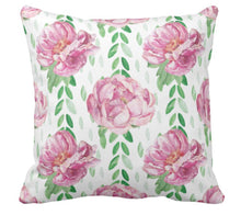 Watercolor Vintage Pink Peonies Throw Pillow