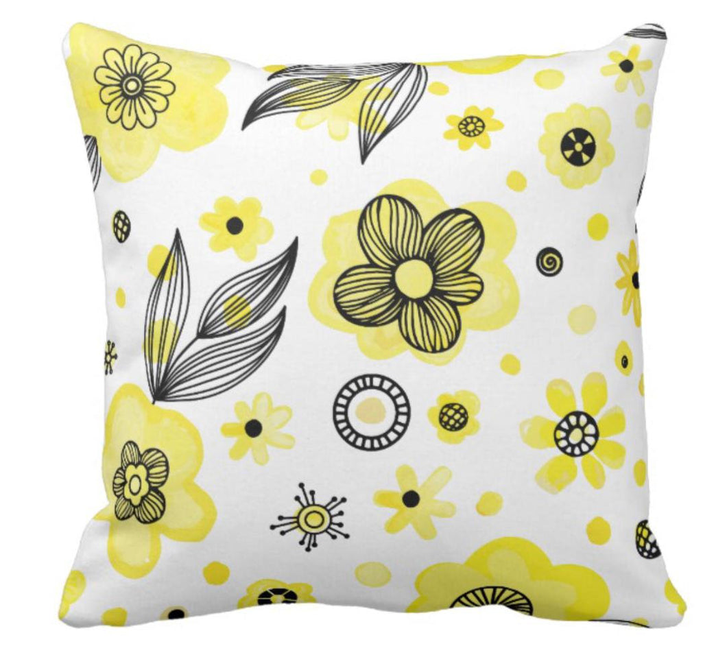 "Throw Pillow ""She Gathers Flowers"""