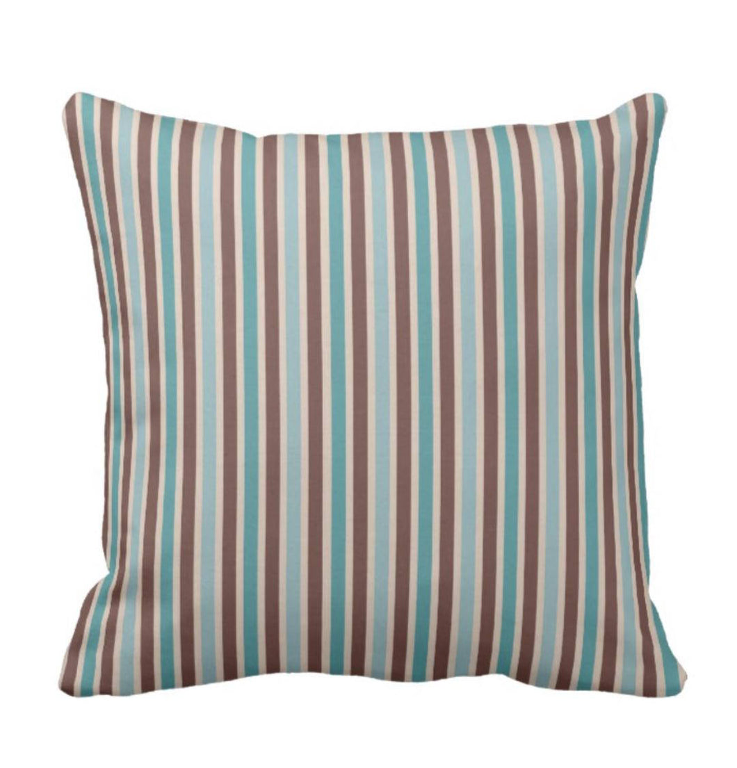 Striped Throw Pillow Turquoise and Brown