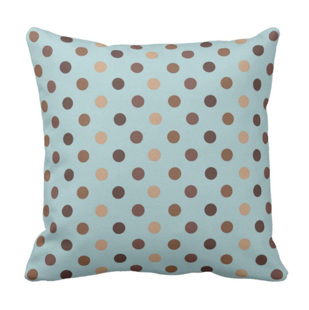 Throw Pillow Coffee Time Polka Dotted