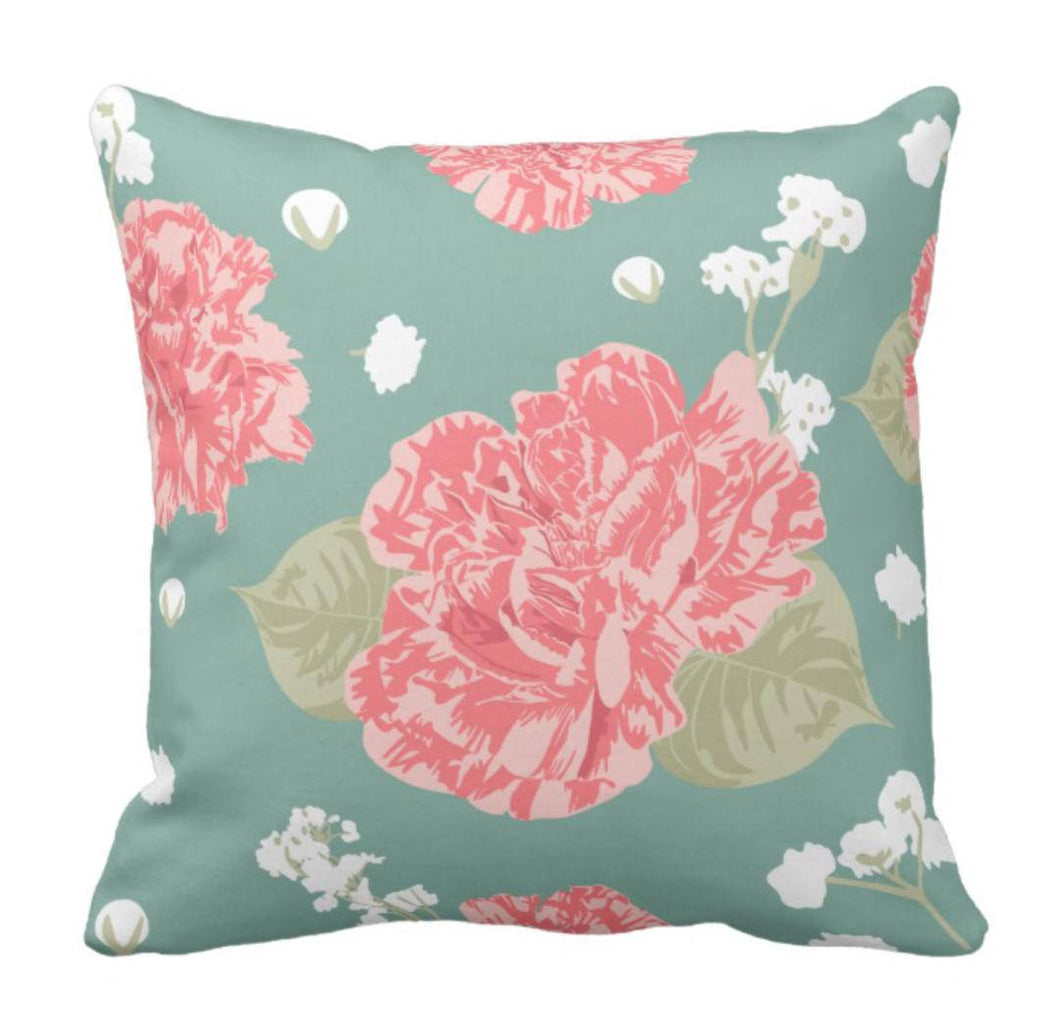 Prairie Style Pink Carnations Throw Pillow