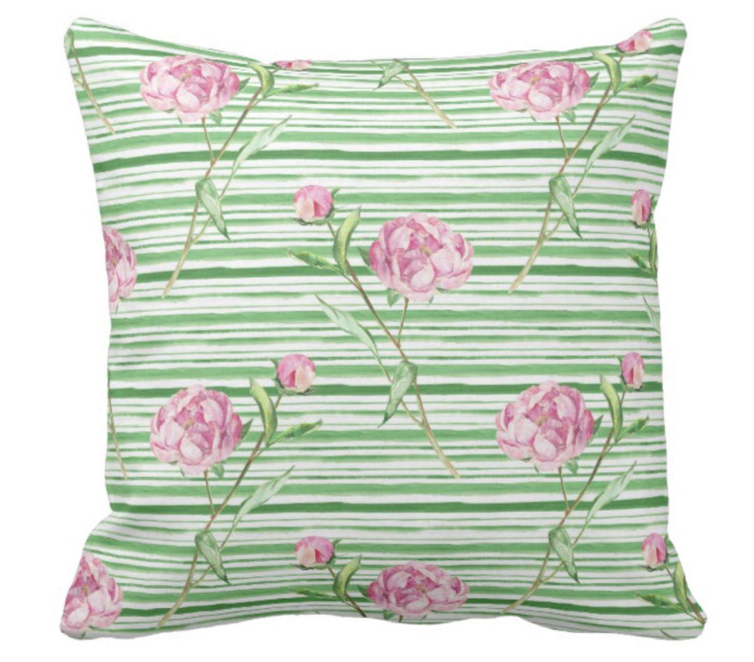 Vintage Pink Peonies Throw Pillow