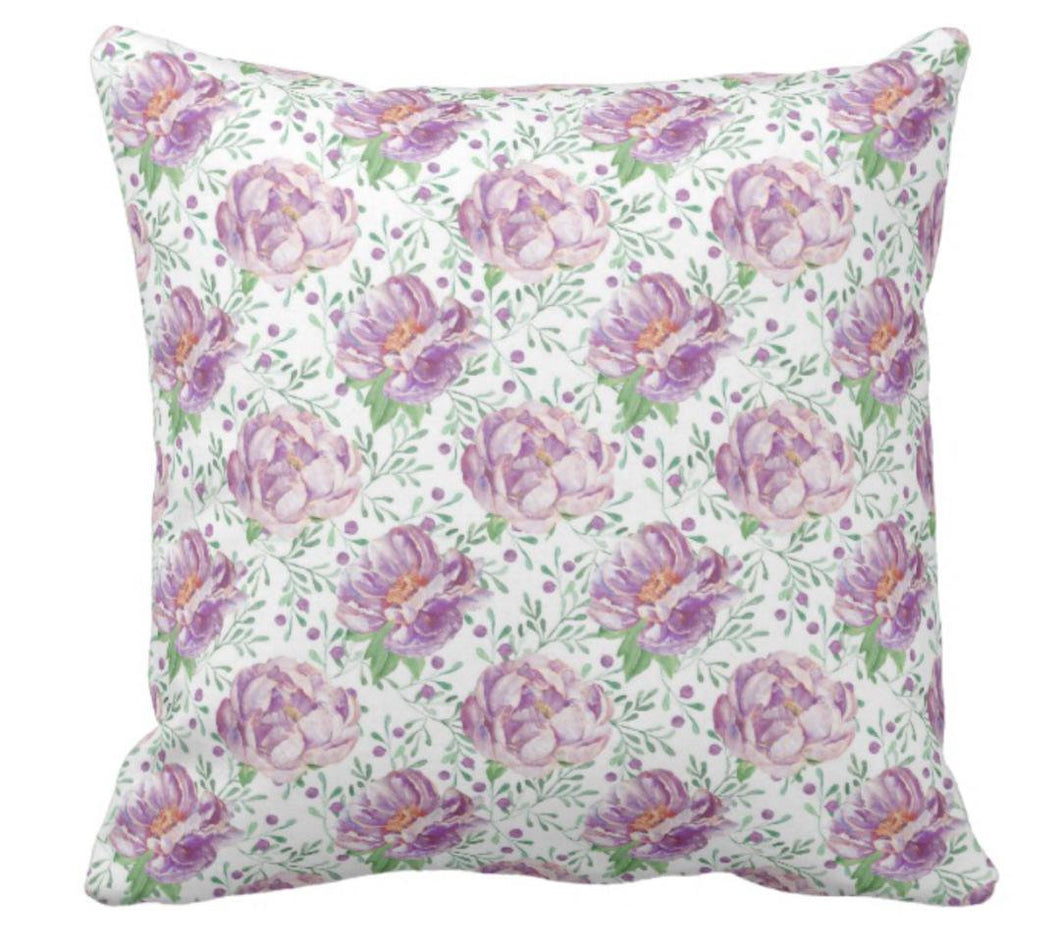 Cottage Style Purple Peonies Throw Pillow