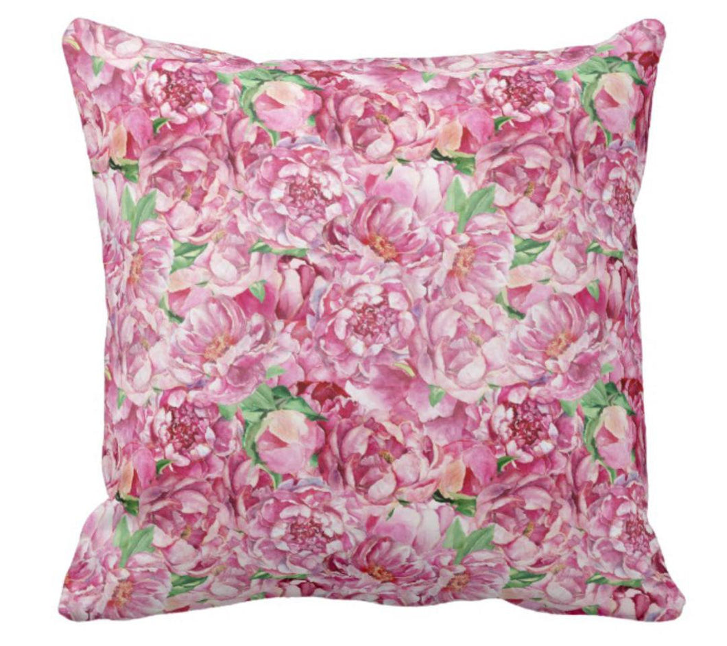 Pink Peony Garden Floral Throw Pillow