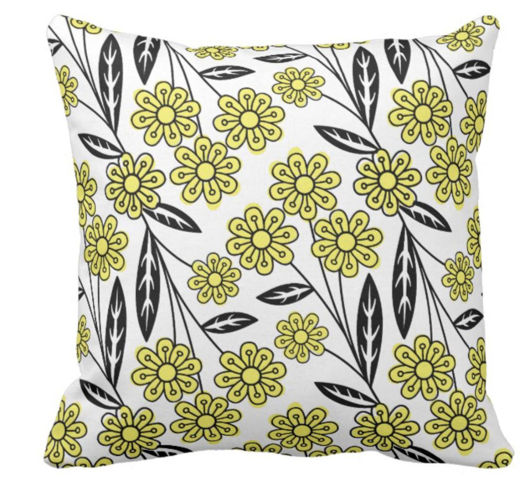 Crazy For Daisies Black and Yellow Throw Pillow