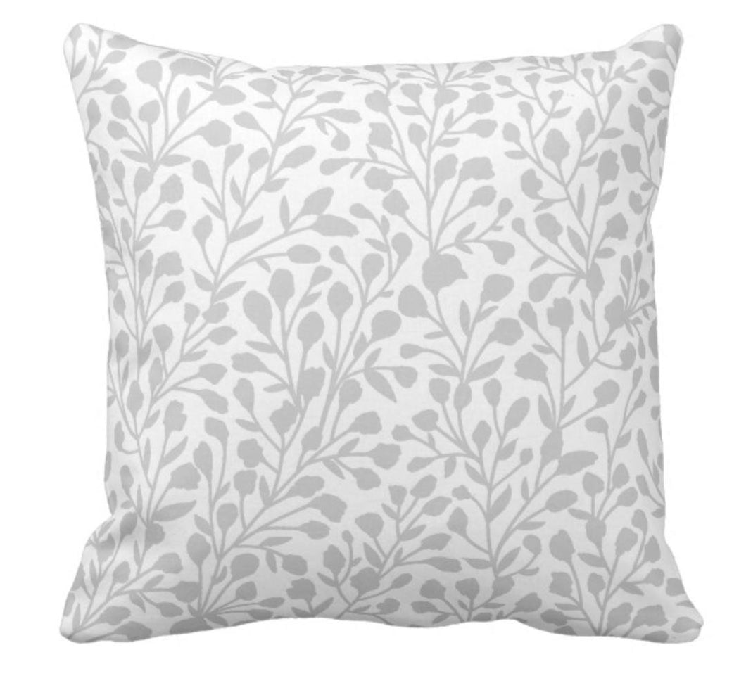 Gray and White Floral Throw Pillow