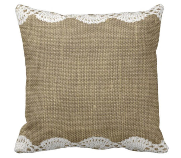 Throw Pillow Burlap and Lace Design