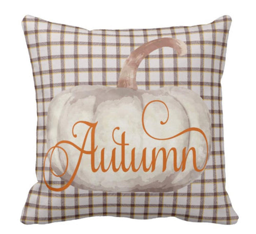 Throw Pillow Fall Plaid Cream Pumpkin