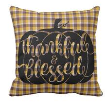 Throw Pillow Gold Plaid Pumpkin Thankful Blessed